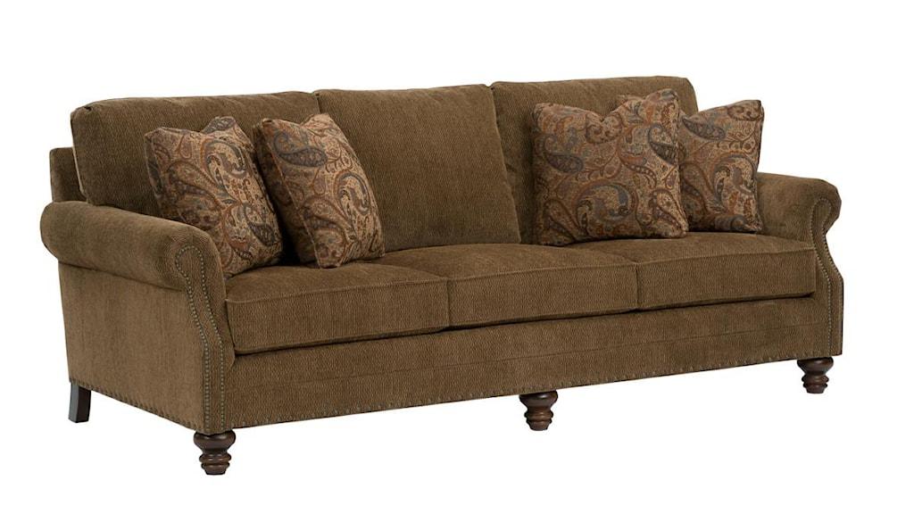 kincaid furniture bayhill traditional sofa with turned wood feet