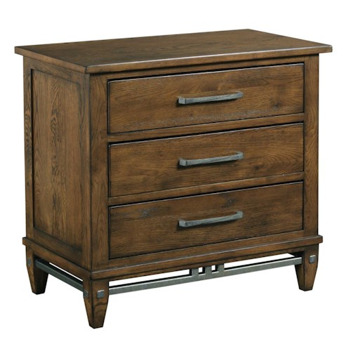 Kincaid Furniture Bedford Park Bedford Solid Wood Nightstand with Rustic Metal Accents