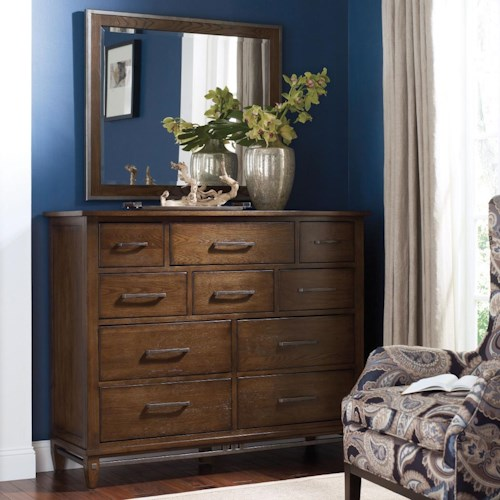 Kincaid Furniture Bedford Park Hammond Bureau and Mirror Set with Flip-Front Media Storage