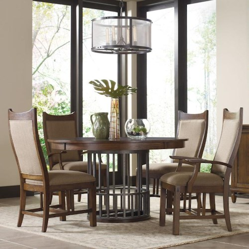 Kincaid Furniture Bedford Park Five Piece Elements Table and Craftsman Upholstered Chairs Set