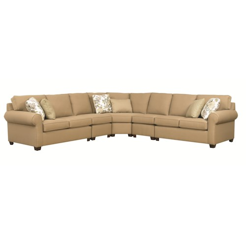 Kincaid Furniture Brannon Five Piece Sectional Sofa with Rolled Arms