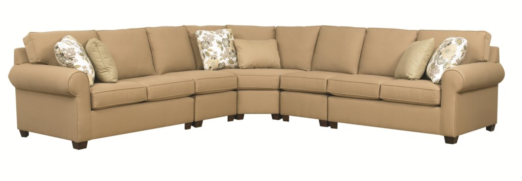 Kincaid Furniture Brannon Five Piece Sectional Sofa With Rolled  ~ Five Piece Sectional Sofa