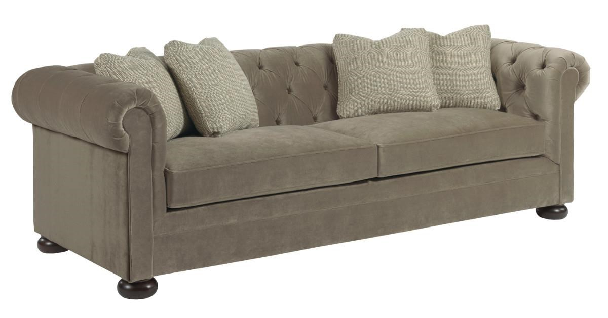 Delightful Kincaid Furniture Camden Chesterfield Sofa With Toss Pillows And Wooden Bun  Feet