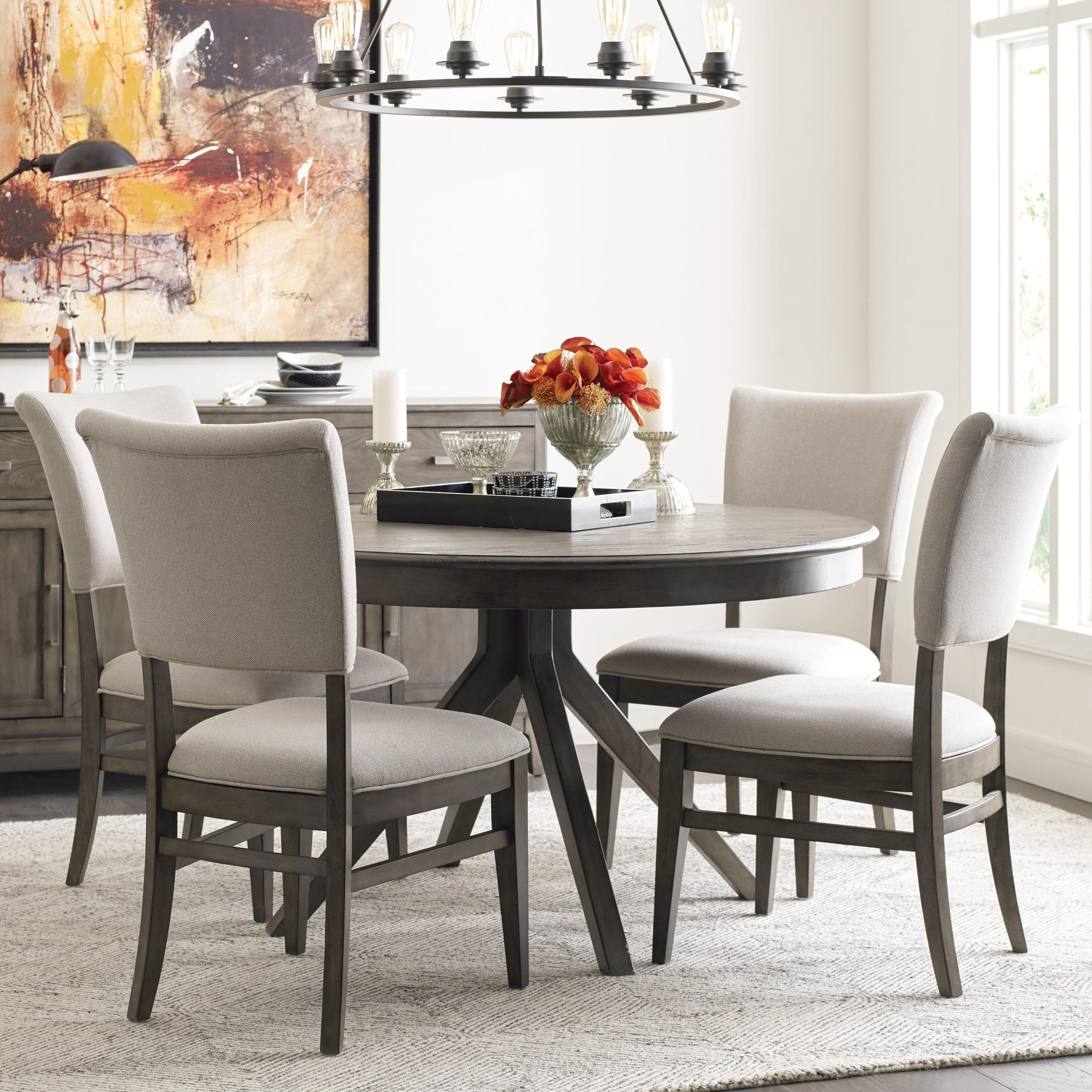 Picture of: Kincaid Furniture Cascade Round Dining Table Set With 4 Chairs Godby Home Furnishings Dining 5 Piece Sets