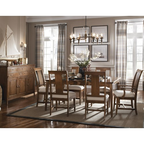 Kincaid Furniture Cherry Park Seven Piece Rectangular Leg Table & Slat Back Chair Set