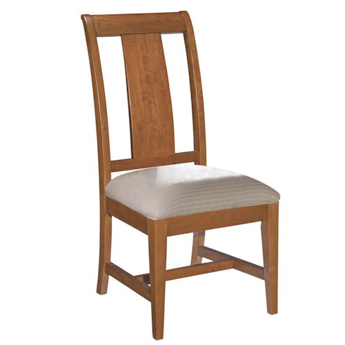 Kincaid Furniture Cherry Park Slat Back Side Chair with Cushioned Seat