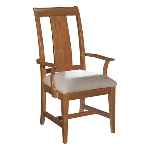 Kincaid Furniture Cherry Park Slat Back Arm Chair with Cushioned Seat