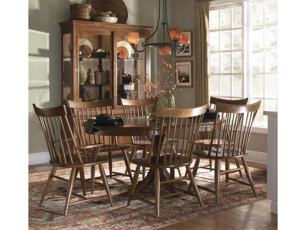 Shown with Windsor Arm Chairs, Round Dining Table, and China Cabinet