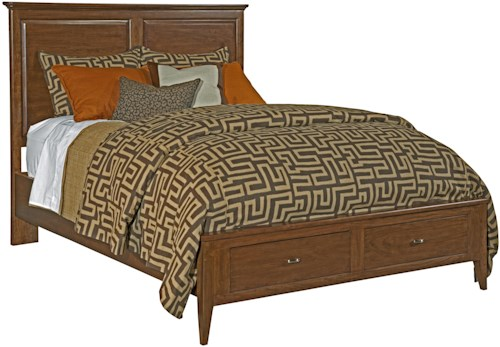 Kincaid Furniture Cherry Park King-Size Bed with Panel Headboard & Two-Drawer Storage Footboard