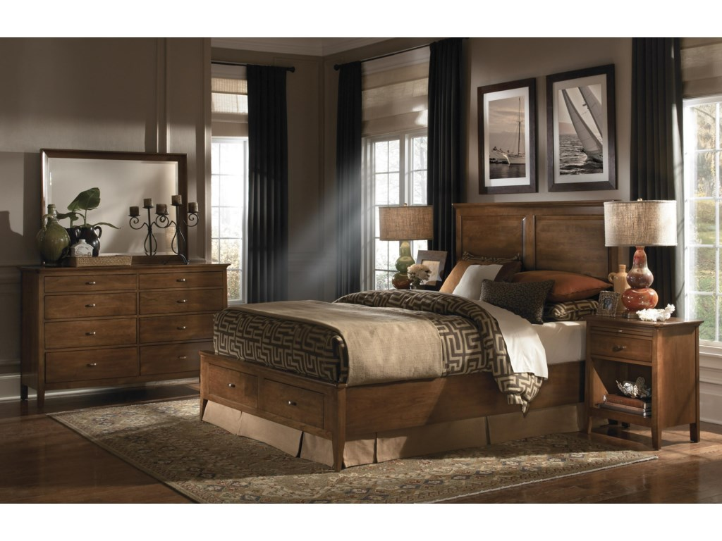 Shown with Open Nightstand, Dresser, and Landscape Mirror