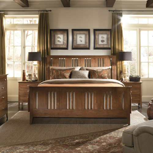 Kincaid Furniture Cherry Park Queen Slat Sleigh Bed
