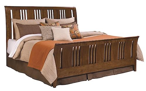 Kincaid Furniture Cherry Park King Slat Sleigh Bed