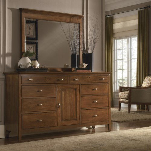 Kincaid Furniture Cherry Park Eight Drawer Dresser & Landscape Mirror with Crown Molding Combo