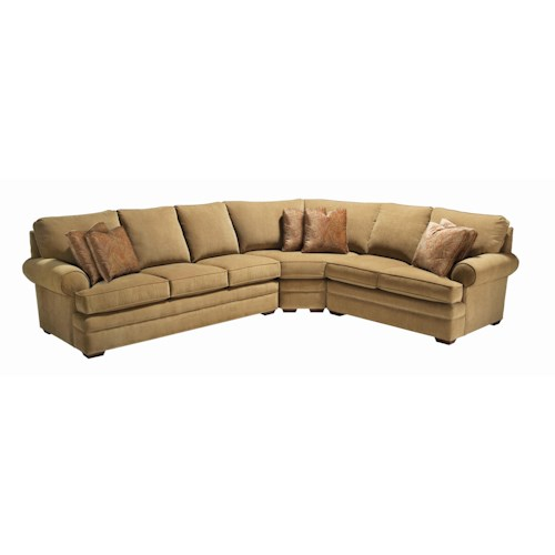 Kincaid Furniture Custom Select Upholstery Custom 3-Piece Sectional with Rolled Arms