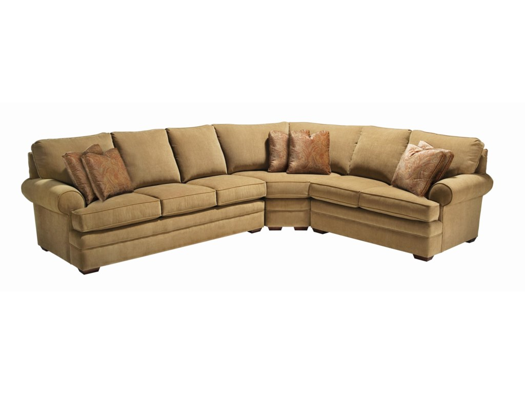 Custom Select Upholstery Custom 3-Piece Sectional with Rolled Arms by  Kincaid Furniture at Becker Furniture World