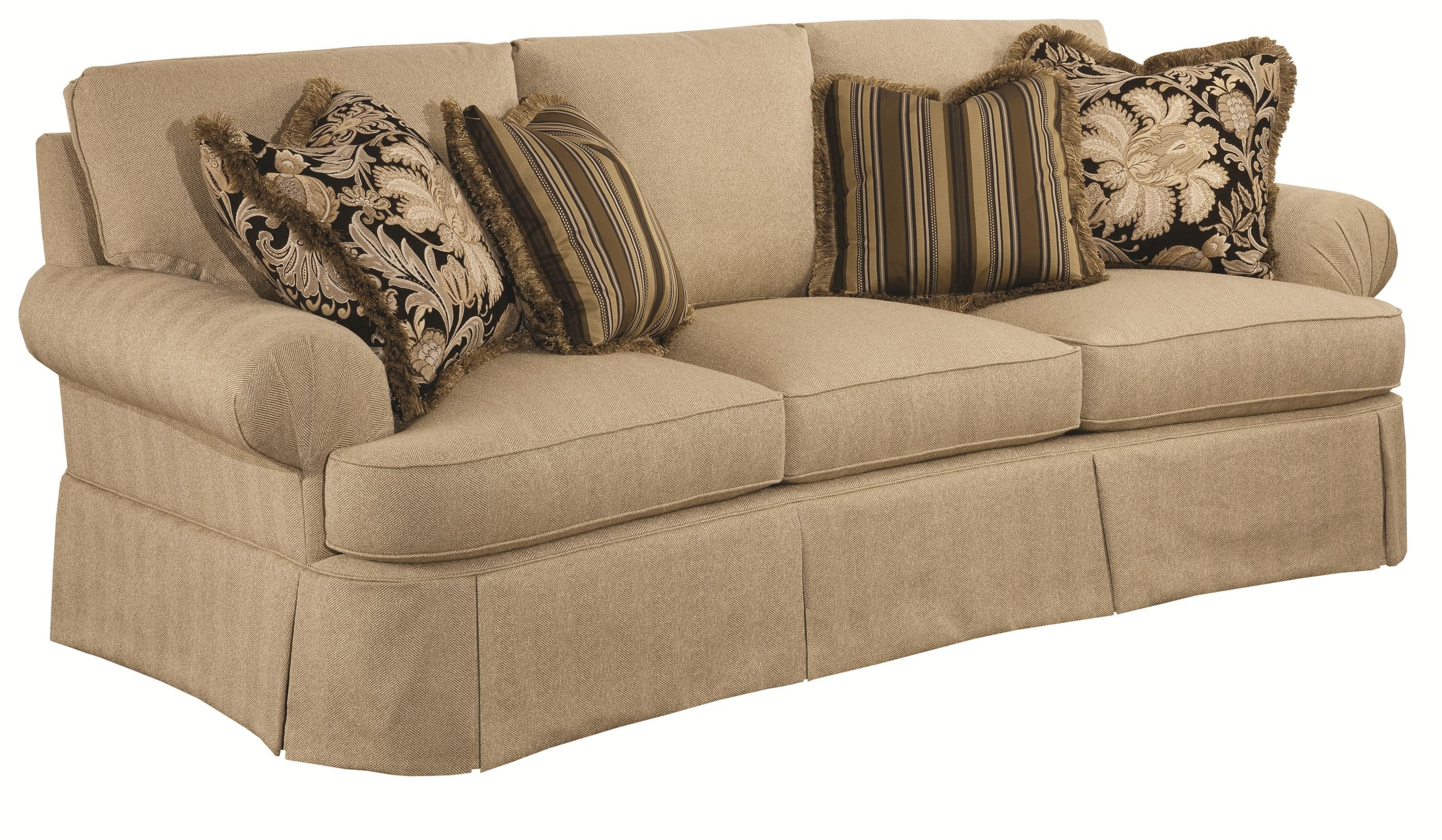 Danbury Traditional Conversation Sofa With Waterfall Skirts And Fan Pleated  Arms By Kincaid Furniture