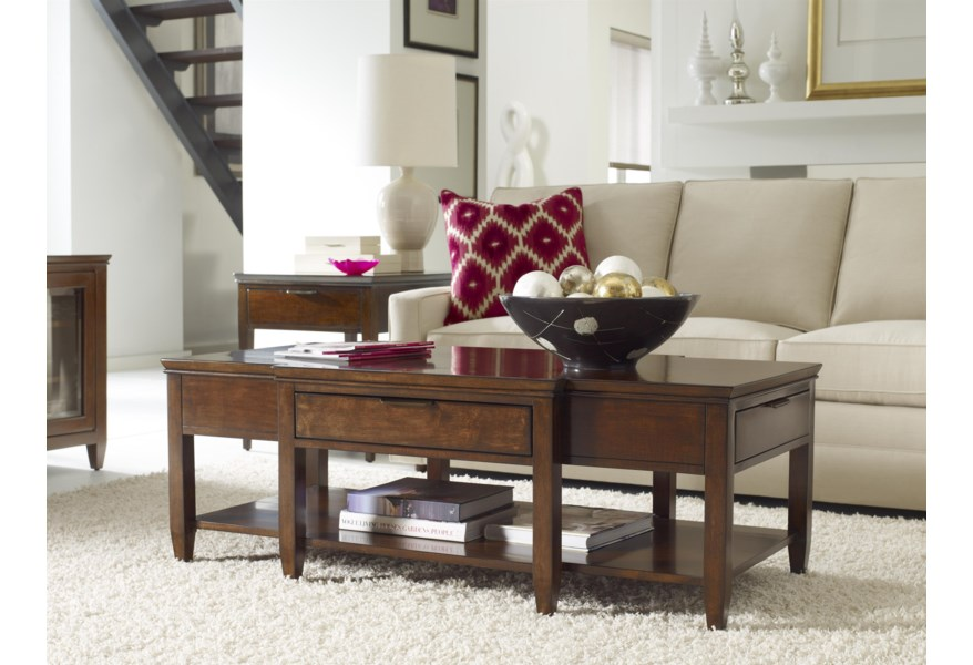 Kincaid Furniture Elise Transitional Elise Cocktail Table With Four Drawers Johnny Janosik Cocktail Coffee Tables