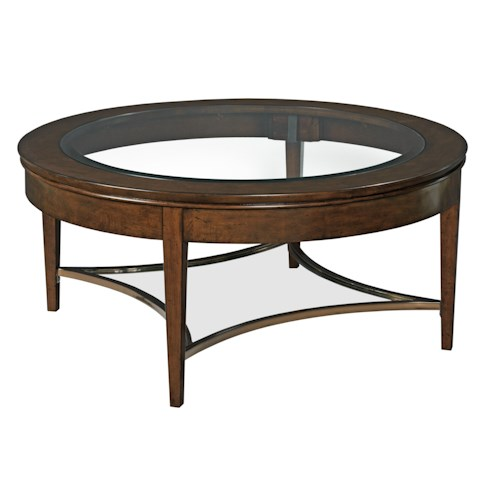 Kincaid Furniture Elise Transitional Aura Cocktail Table with Glass Top and One Glass Shelf