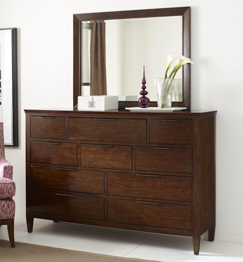Kincaid Furniture Elise Transitional Luccia Bureau and Mirror Set with Drop-Front Media Storage Drawer