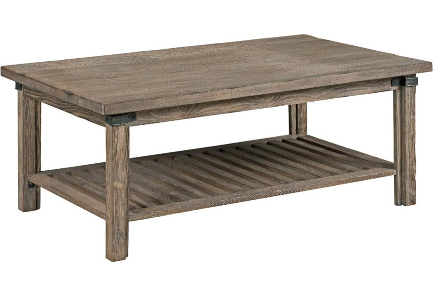 Kincaid Furniture Foundry Rustic Weathered Gray Rectangular Cocktail Table Belfort Furniture Cocktail Coffee Tables