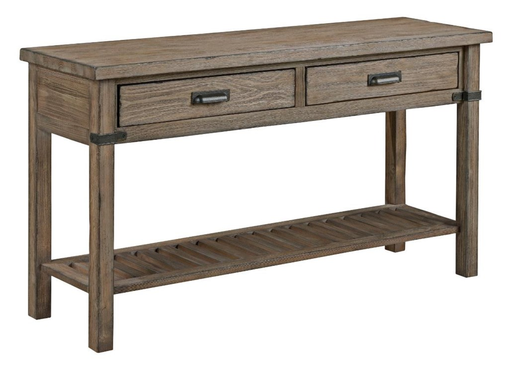 Kincaid Furniture Foundry Rustic Weathered Gray Sofa Table  ~ End Tables And Sofa Tables