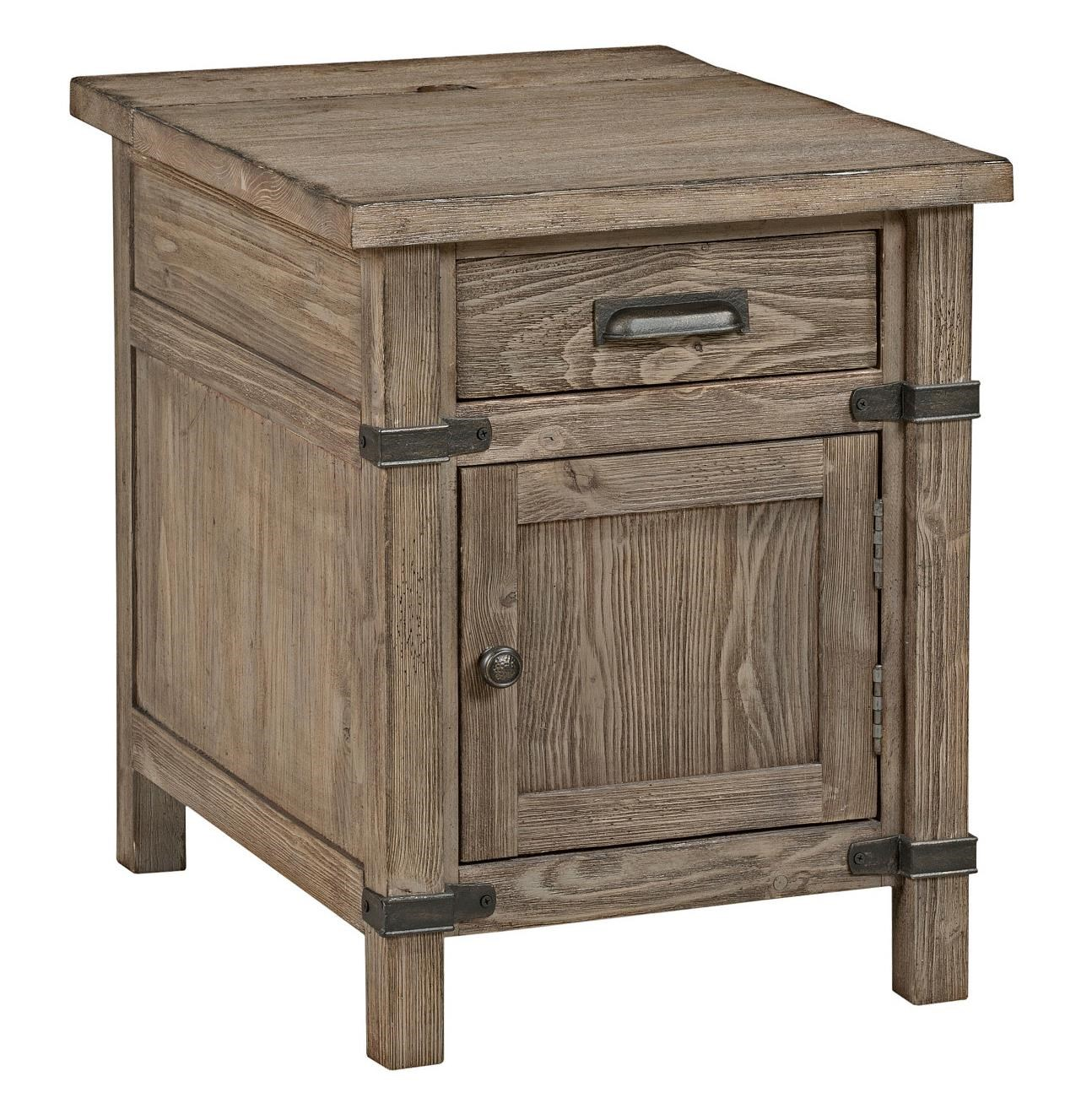 Superb Kincaid Furniture Foundry Rustic Weathered Gray Chairside Table With Power  Outlet   Becker Furniture World   End Tables