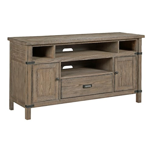 Kincaid Furniture Foundry Rustic Weathered Gray Entertainment Console with Electrical Outlet