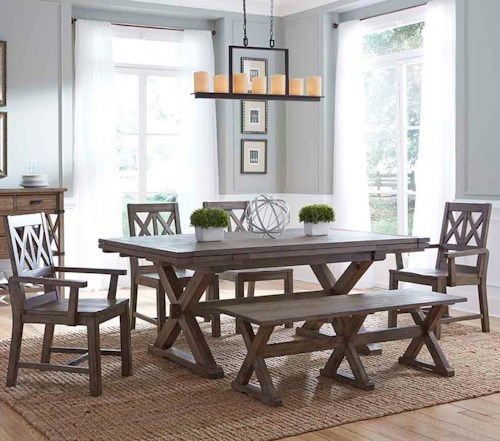 Kincaid Furniture Foundry Six Piece Rustic Dining Set with Bench ...