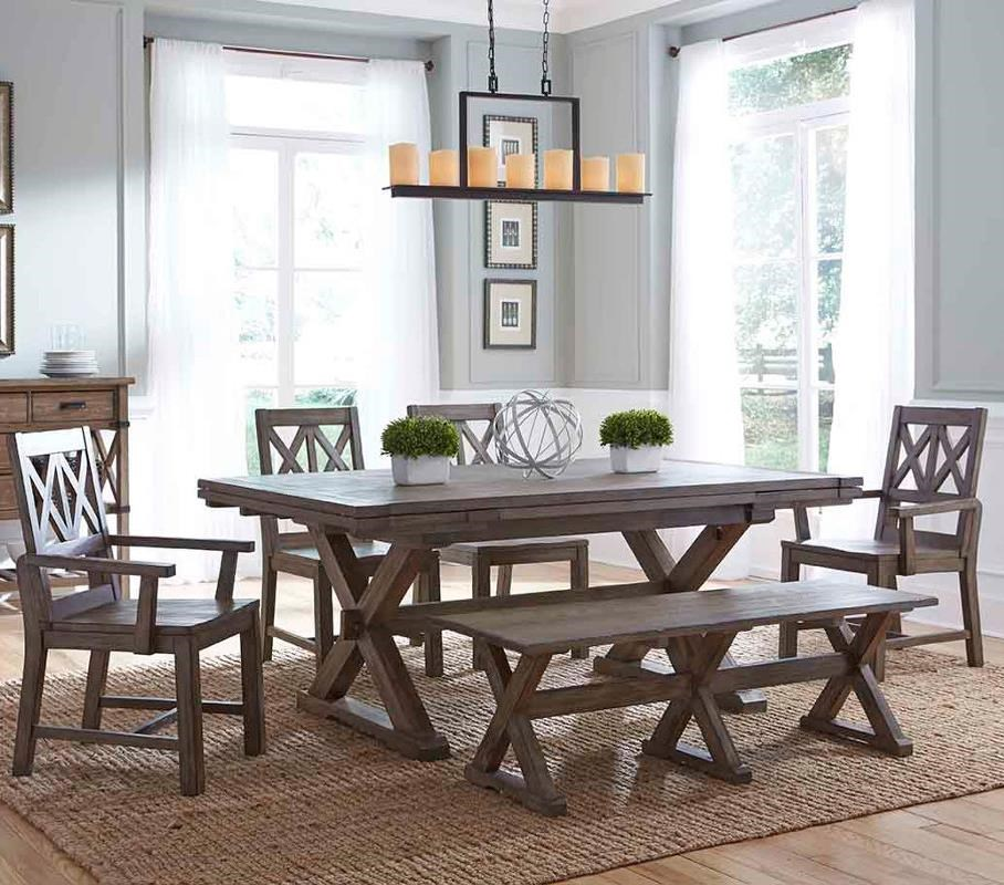 Kincaid Furniture Foundry Six Piece Rustic Dining Set With Bench   Olindeu0027s  Furniture   Table U0026 Chair Set With Bench