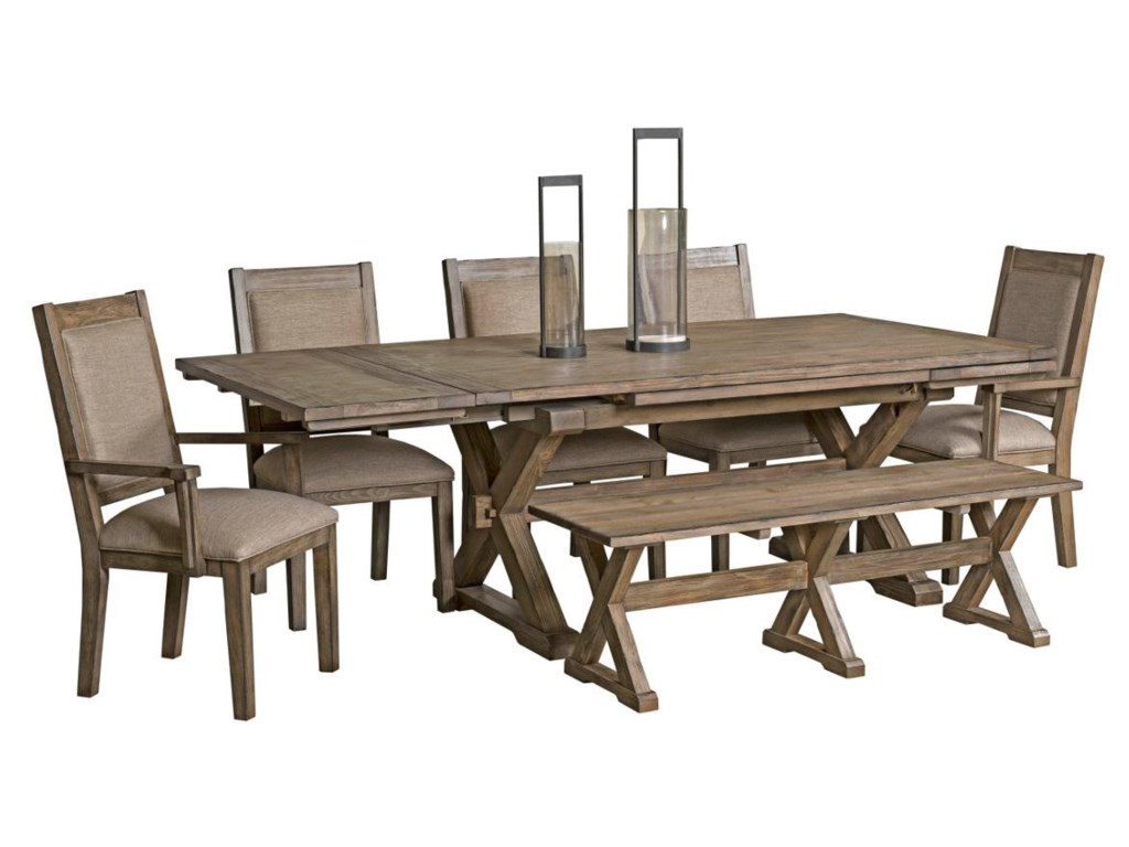 Kincaid Furniture Foundry Seven Piece Rustic Dining Set with Bench ...