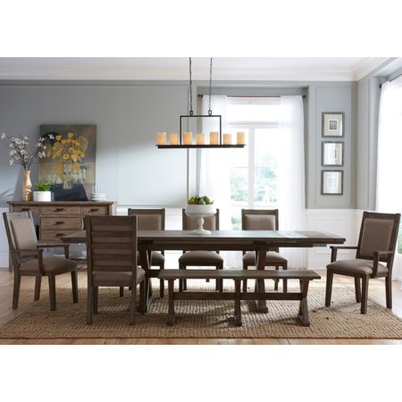 8 Pc Dining Set with Bench