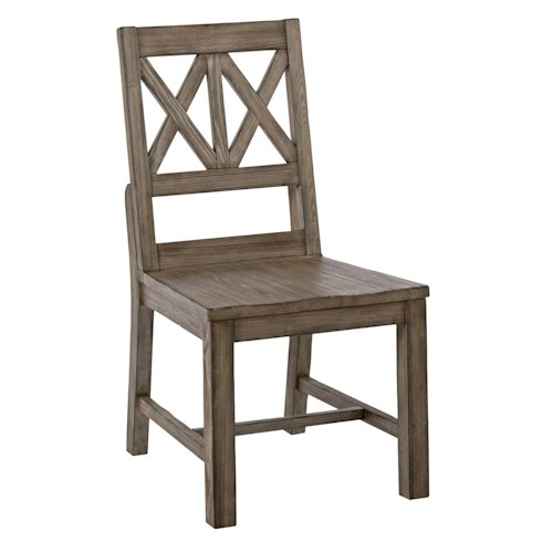 Kincaid Furniture Foundry Rustic Solid Wood Side Chair with Weathered Gray Finish and X-Lattice Back