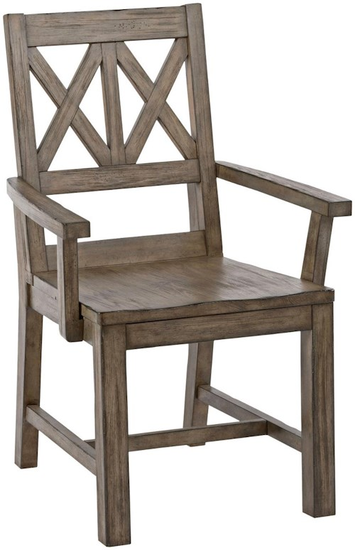 Kincaid Furniture Foundry Rustic Solid Wood Arm Chair with Weathered Gray Finish and X-Lattice Back