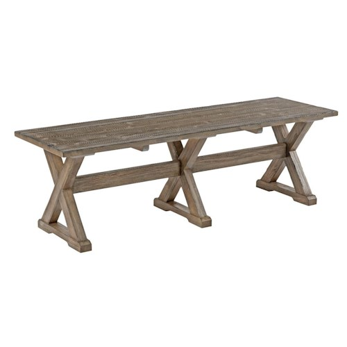 Kincaid Furniture Foundry Rustic Solid Wood Dining Bench with Burnished Gray Finish