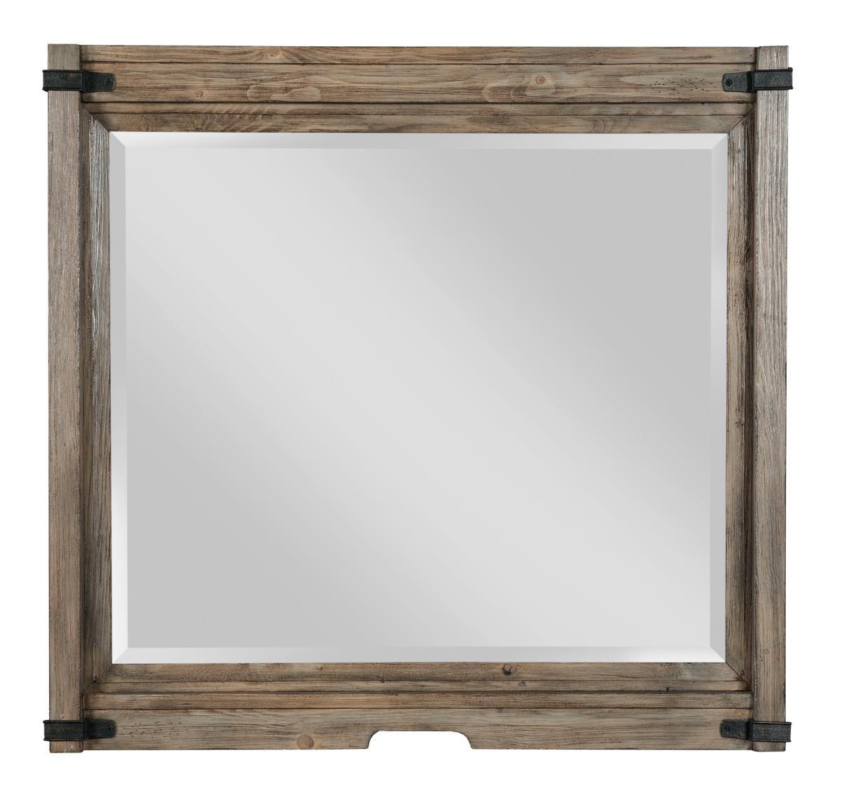 Rustic Bureau Mirror with Bracket Detail