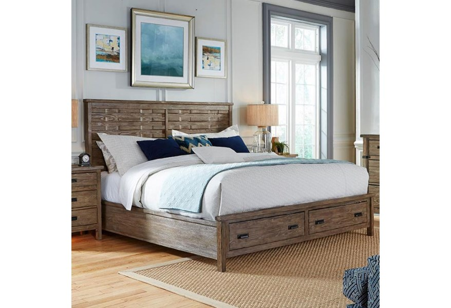 Kincaid Furniture Foundry King Rustic Panel Bed With Storage Footboard Belfort Furniture Platform Beds Low Profile Beds