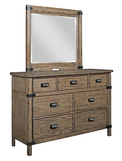 Kincaid Furniture Foundry Rustic Weathered Gray Bureau and Mirror Set