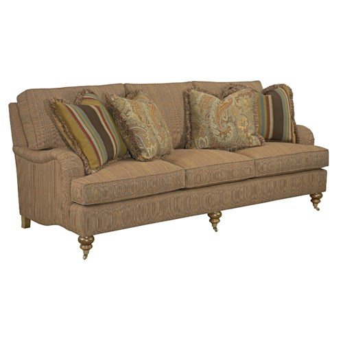 Kincaid Furniture Greenwich Traditional Sofa with English Arms and Turned Legs