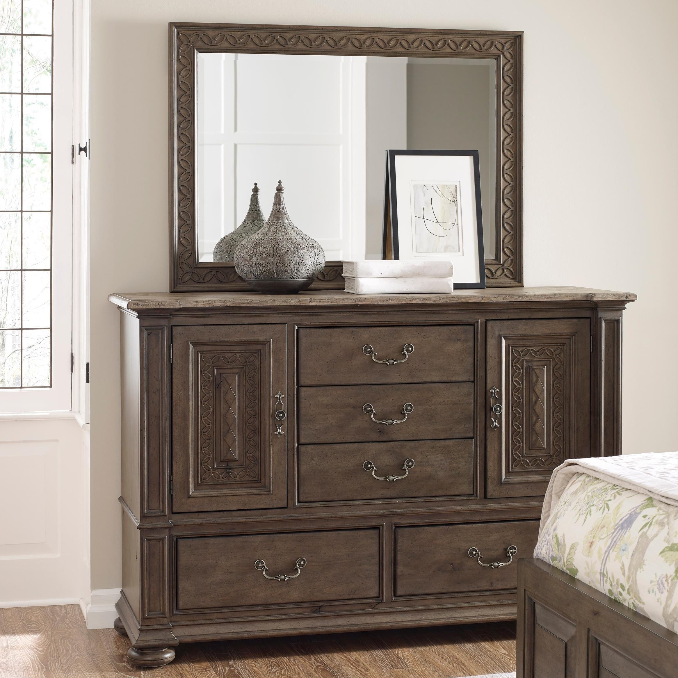 kincaid furniture greyson putnam media dresser and kane landscape mirror set