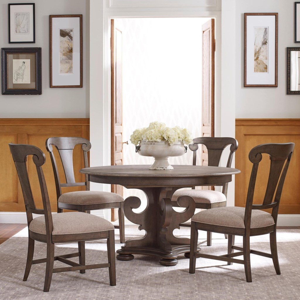 Kincaid Furniture Greyson Five Piece Dining Set With Grant Round