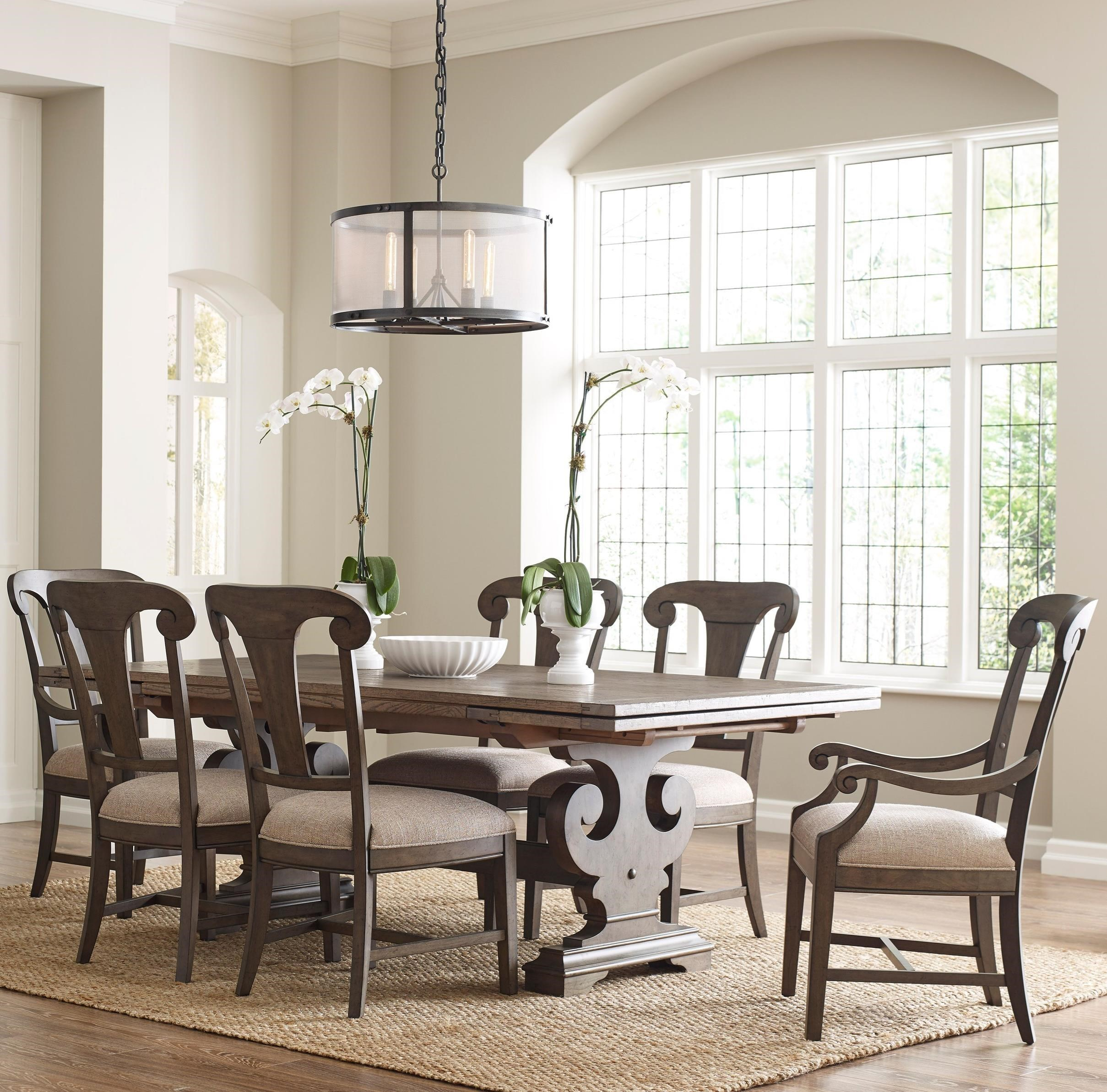 Kincaid Furniture Greyson Seven Piece Dining Set With Crawford Refectory  Table And Fulton Chairs | Adcock Furniture | Dining 7 (or More) Piece Sets