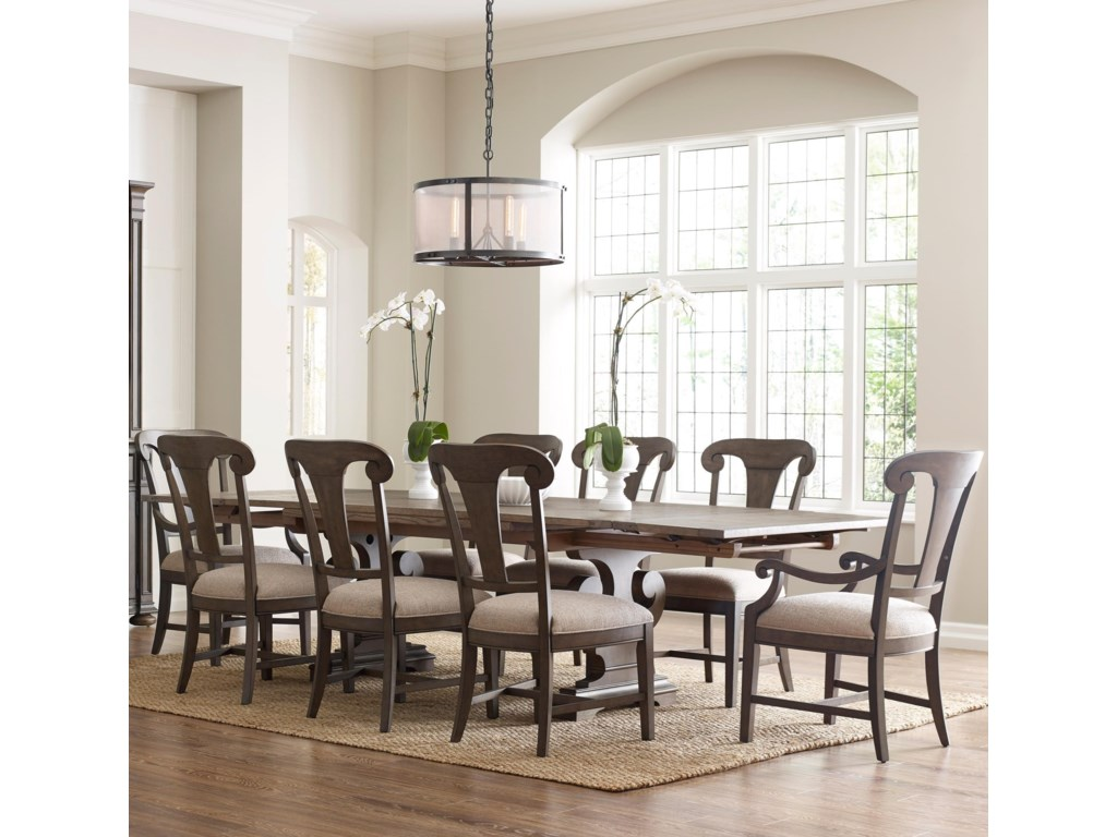Kincaid Furniture Greyson Nine Piece Dining Set With Crawford Homecoming Refectory Trestle Table