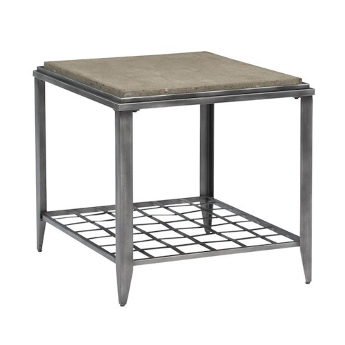 Kincaid Furniture Grid Industrial Rectangular End Table with Finished Concrete Top