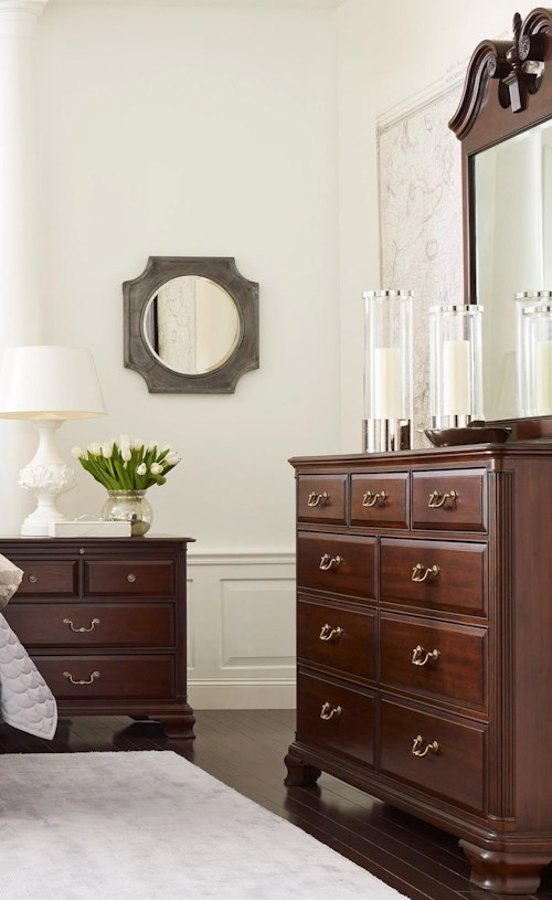Kincaid Furniture Hadleigh Traditional Dresser and Mirror Set with Nine Drawer Dresser and Pediment Mirror
