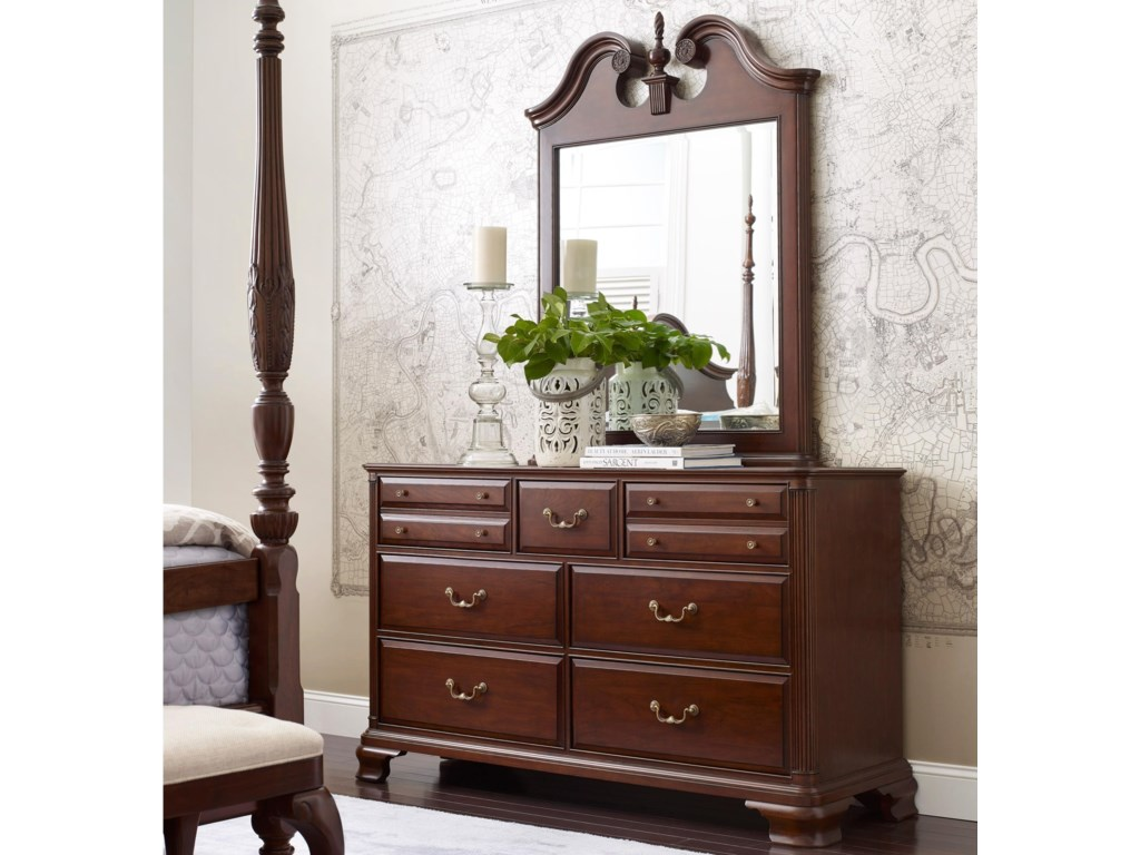 Kincaid Furniture Hadleigh Traditional Dresser And Mirror Set With Bureau Pediment
