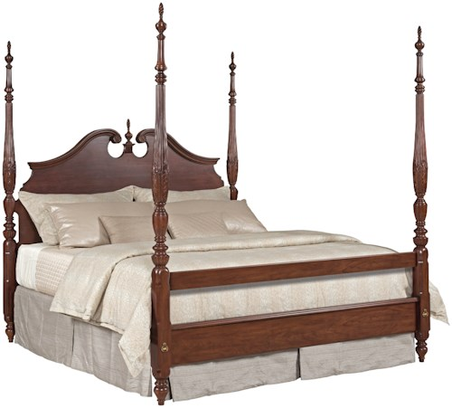 Kincaid Furniture Hadleigh Queen Rice Carved Poster Bed with ...