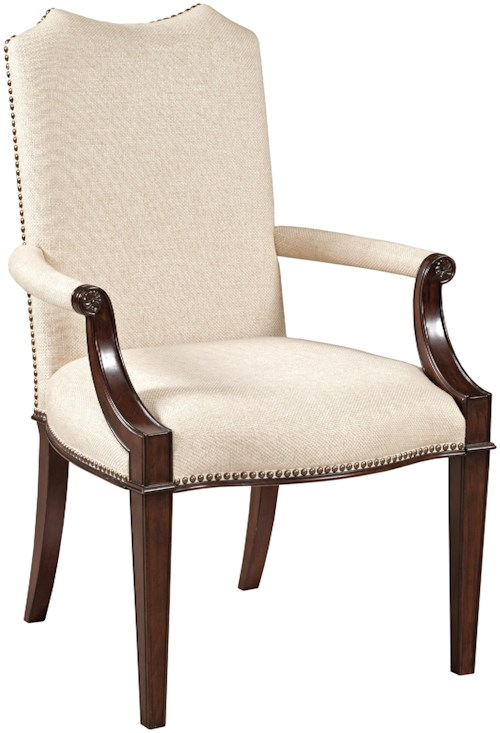 Kincaid Furniture Hadleigh Traditional Upholstered Arm Chair with Nailheads and Wood Lattice Back
