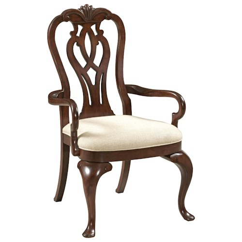 Kincaid Furniture Hadleigh Traditional Queen Anne Arm Chair with Upholstered Seat