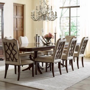 Kincaid Furniture Hadleigh 607 744p 2x623 6x622 Nine Piece Formal Dining Set With Upholstered Chairs Northeast Factory Direct Dining 7 Or More Piece Sets