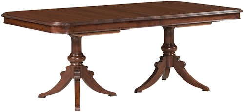 Kincaid Furniture Hadleigh Traditional Double Pedestal Dining Table With 18th Century Styling